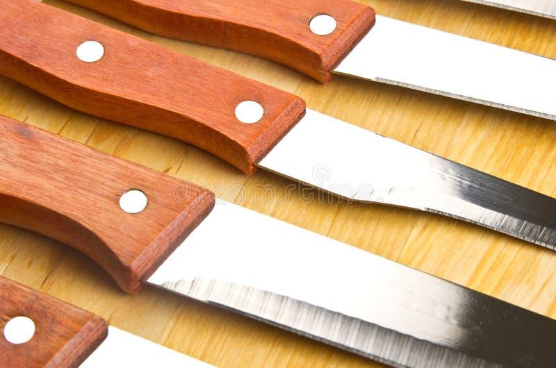 Kithen knivar med trähandtaget royaltyfri fotografi