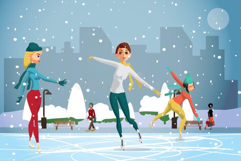 kiting的河滑雪多雪的体育运动冬天 花样滑冰 滑冰在溜冰场的妇女 皇族释放例证