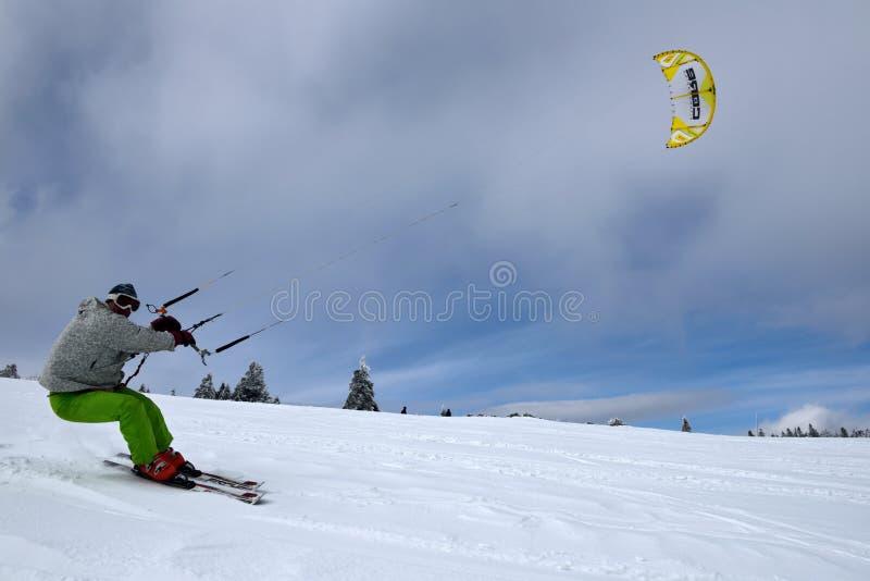 kiting的滑雪 免版税库存照片