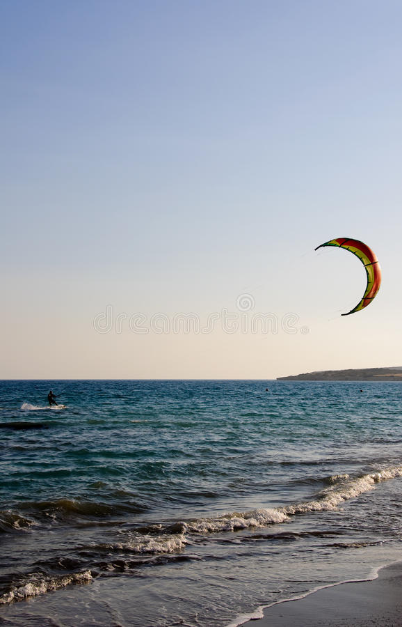 Kiting. Kite surfing - sport, speed, freedom and fun stock images