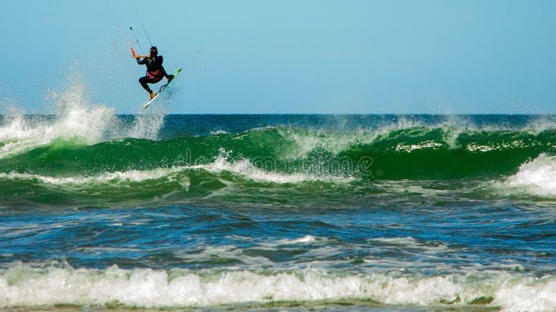 Kiting in Atlantic Ocean stock images