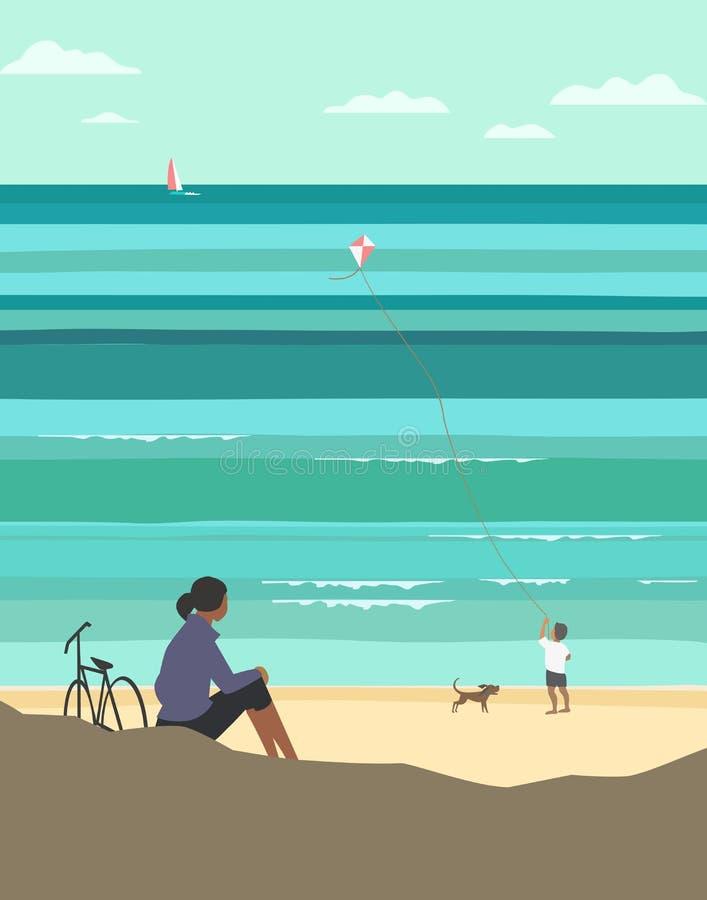 Kiting en la playa ilustración del vector