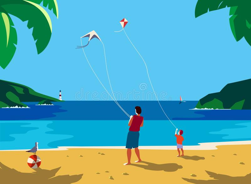 Kiting en la playa del mar libre illustration