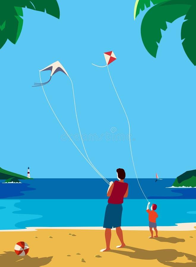 Kiting en la playa del mar stock de ilustración