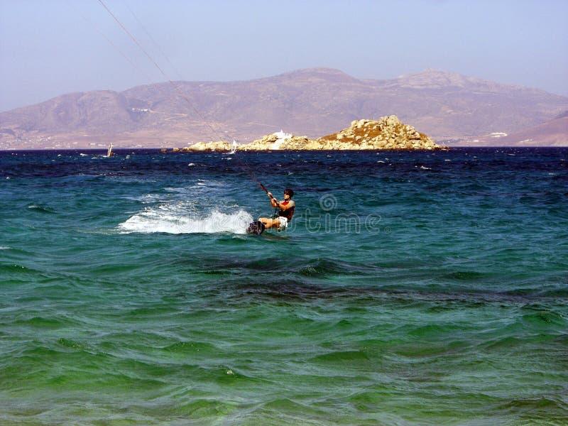 Kiting en Naxos imagen de archivo libre de regalías