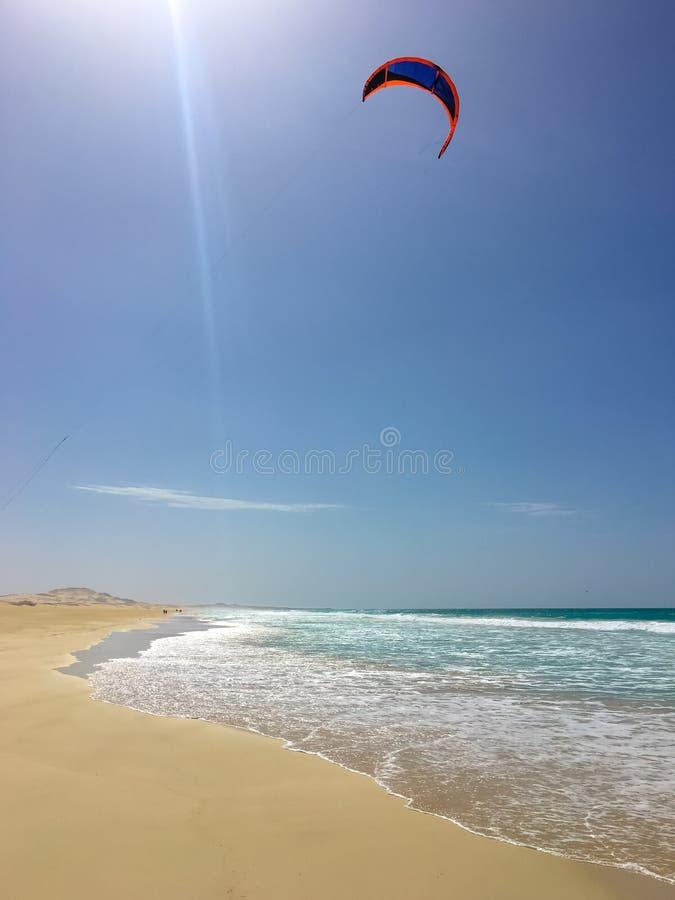Kiting at Praia de Chaves. Boa Vista Cape Verde, Africa royalty free stock photos
