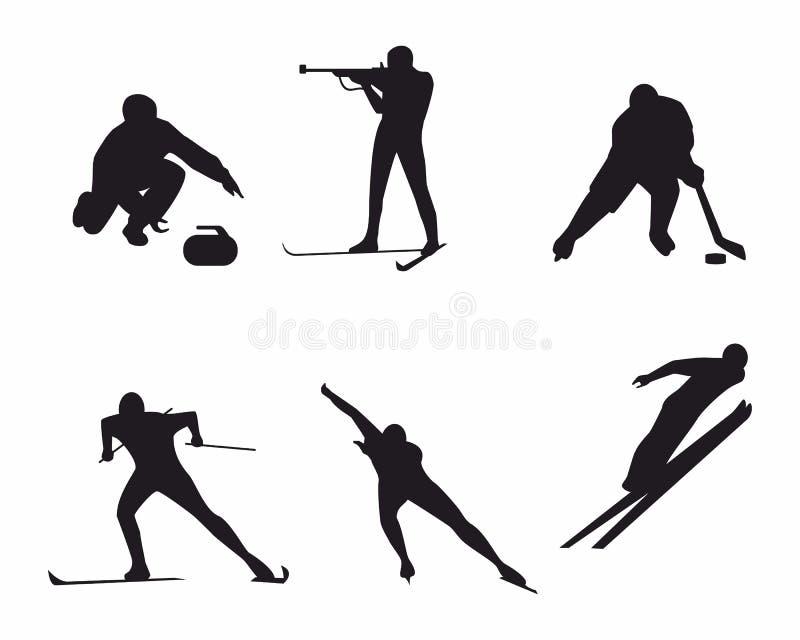 kiting rzeczna narciarska śnieżna sport zima ilustracji
