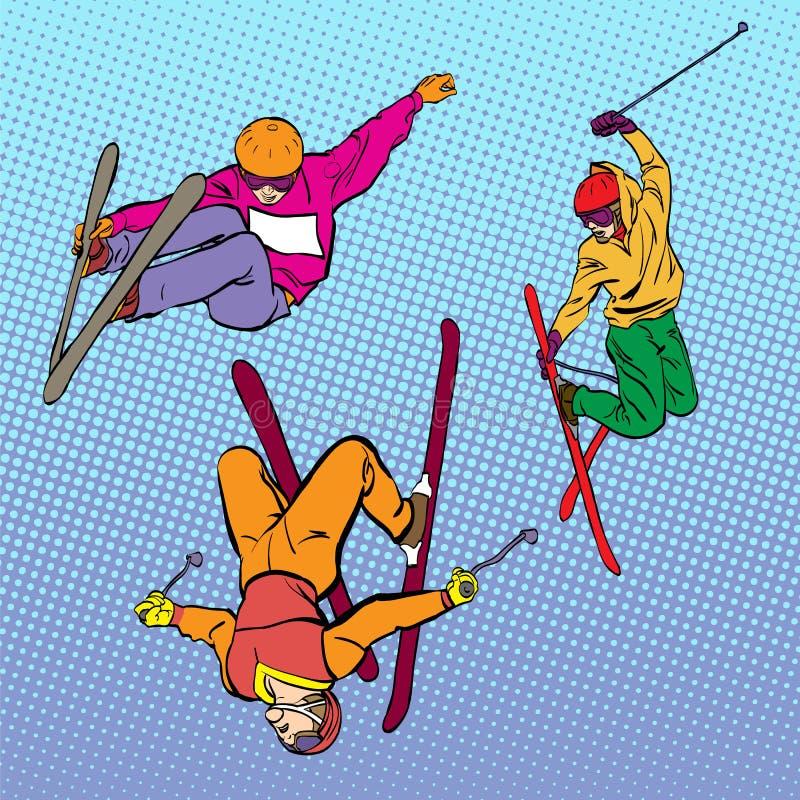 kiting rzeczna narciarska śnieżna sport zima Powietrzny narciarstwo Drymba, superpipe lub slopestyle, Styl wolny narciarka podcza ilustracji