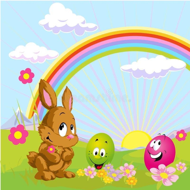 Kitsch drôle de Pâques avec le lapin et l'oeuf - vecteur illustration de vecteur