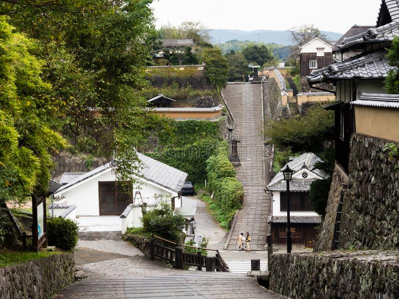 Kitsuki do centro histórico, uma cidade japonesa velha do castelo na prefeitura de Oita fotografia de stock
