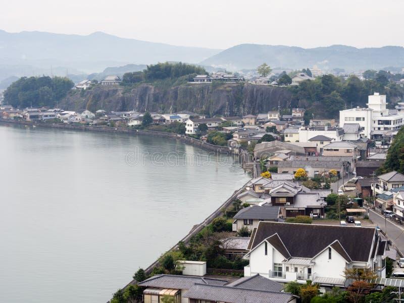 Kitsuki miasta widok z wierzchu Kitsuki kasztelu - Oita prefektura, Japonia obraz stock