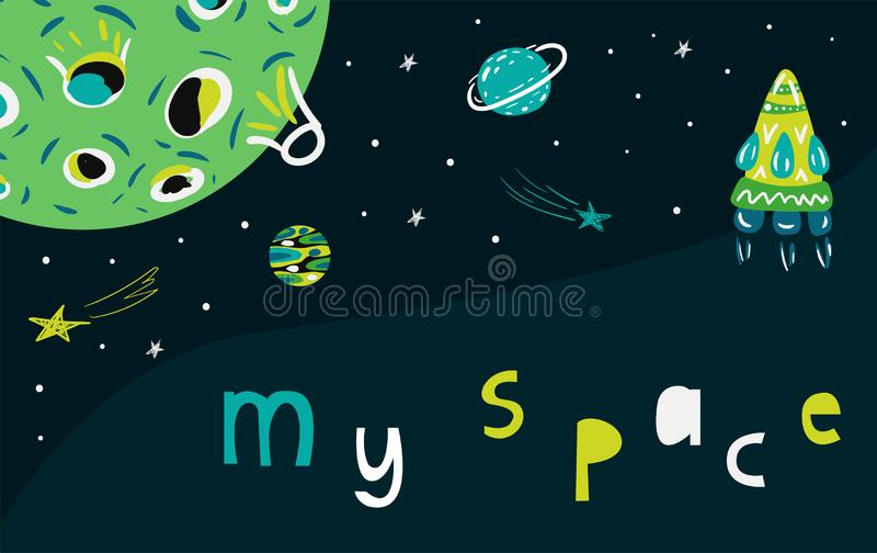 Space cat vector illustration