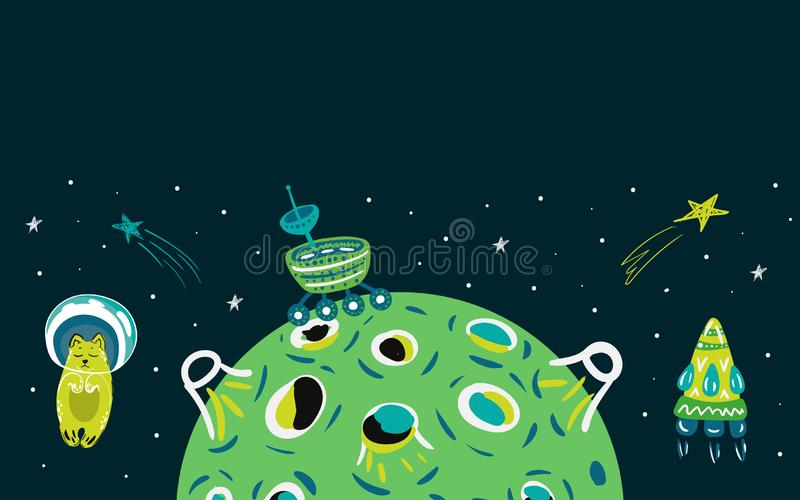 Space cat stock illustration
