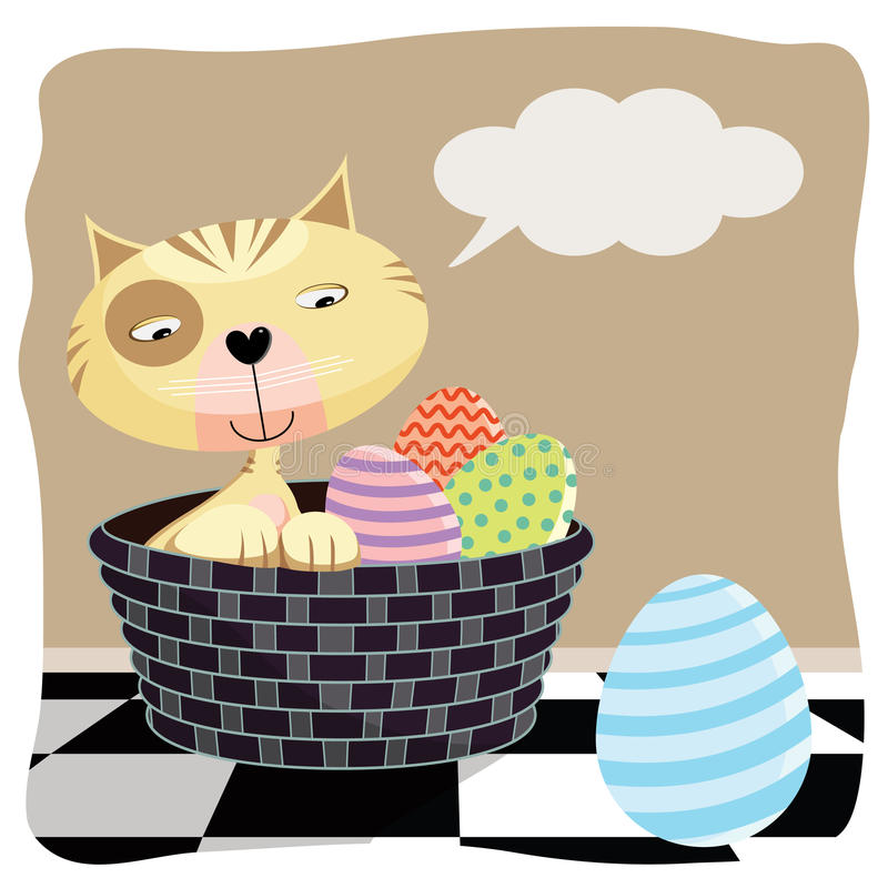 Kitten. A lovely kitten in a basket with easter eggs celebrating the season vector illustration