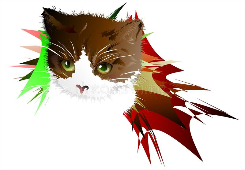 Kitten on an abstract background. 01 (Vector) vector illustration
