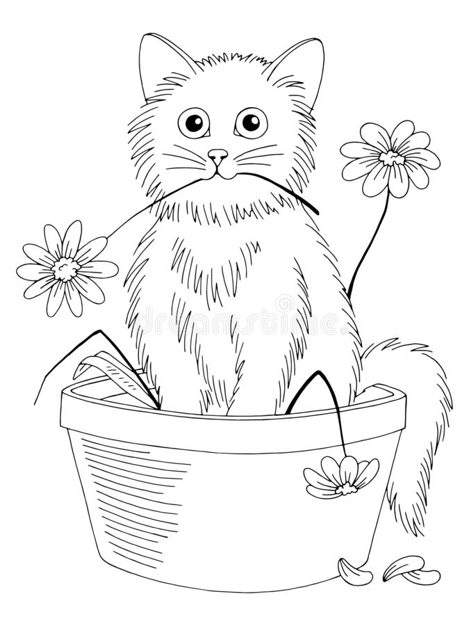 Free Kitten Break Flowers And Sitting In The Pot Graphic Black White Isolated Sketch Illustration Vector Royalty Free Stock Photos - 147625878