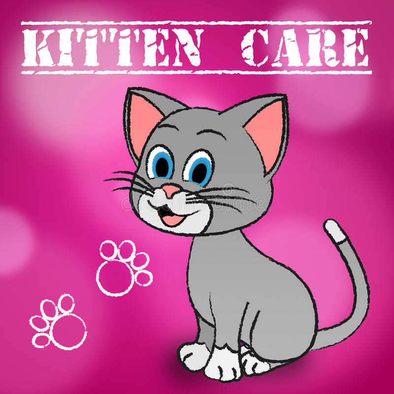 Kitten Care Means Looking After e gatos loving ilustração stock