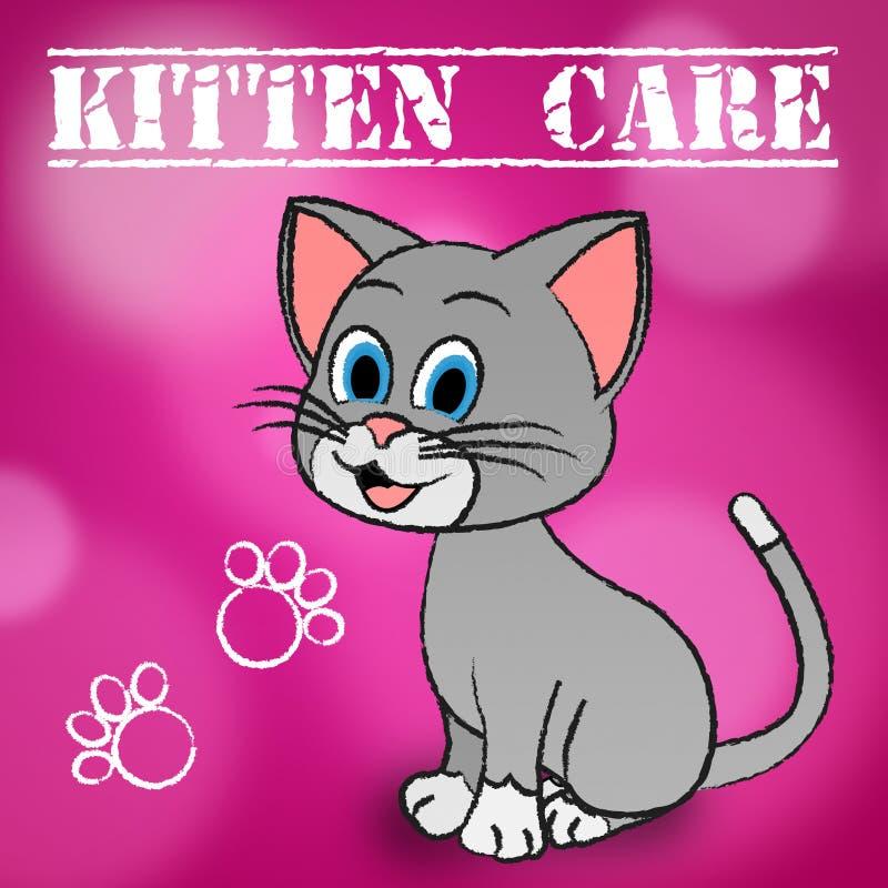 Kitten Care Means Looking After e gatti amorosi illustrazione di stock