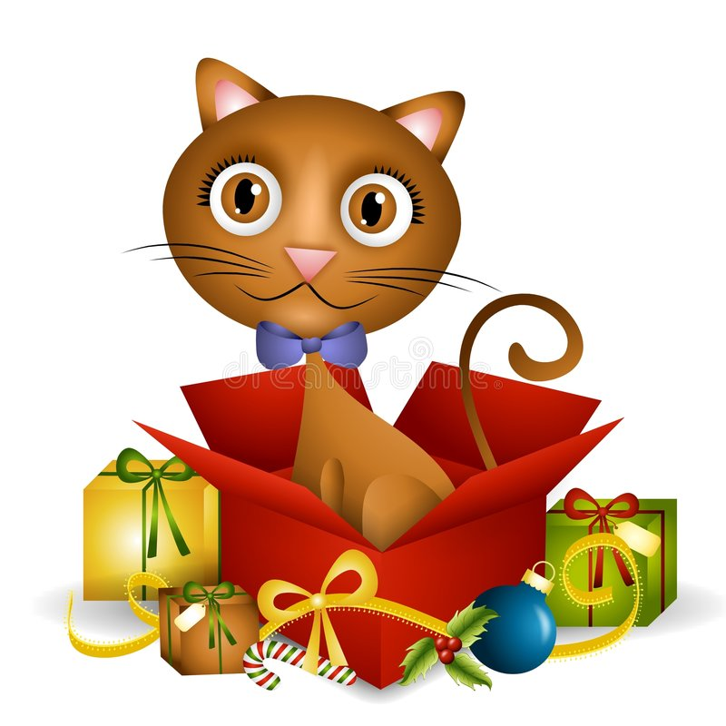 Kitten Christmas Present. An illustration featuring a cute kitten sitting in an unwrapped Christmas gift box stock illustration