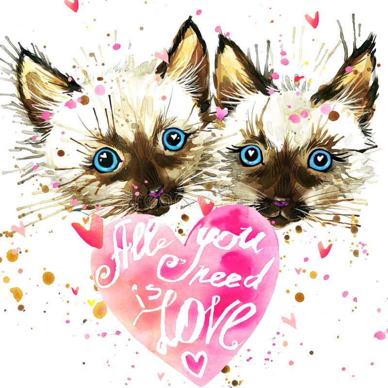 Kitten. Cyte kitten and Valentines day heart. Watercollor kitten. Cyte kitten and Valentines day heart. All you need is love text/ Valentine card. Love poster