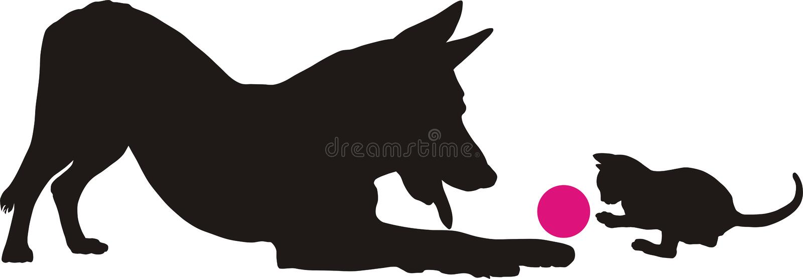 Kitten And Dog Stock Images