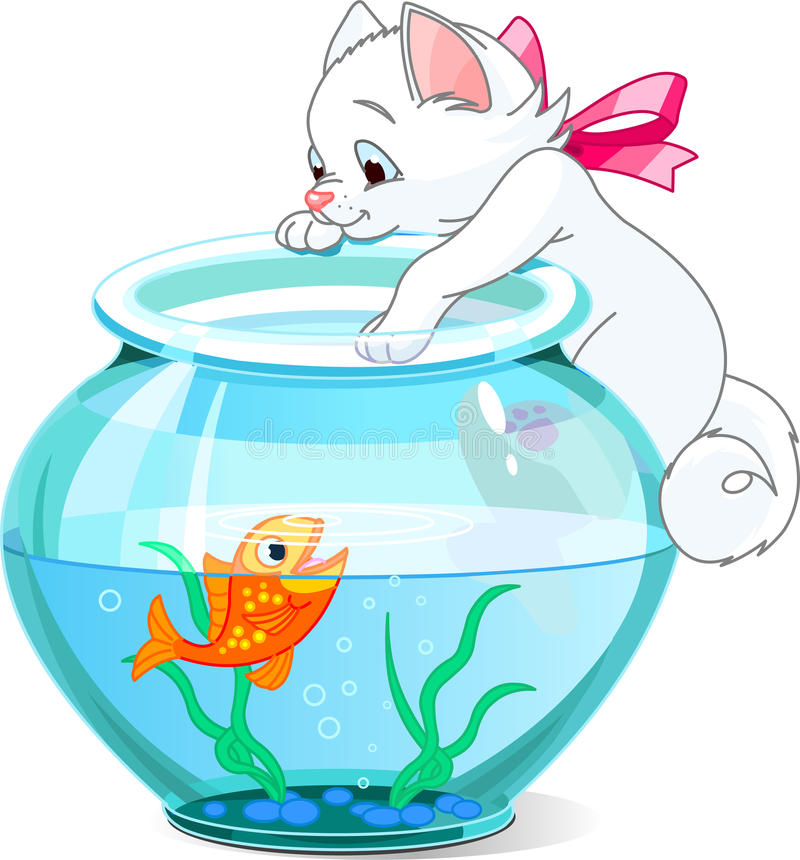 Kitten and fish. A vector illustration of a cute kitten tries to catch gold fish