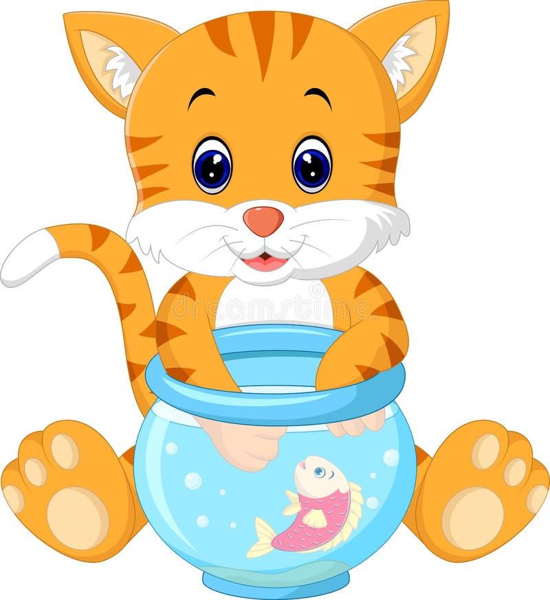 Kitten Fishing per il pesce dell'oro illustrazione di stock