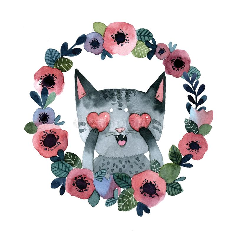 Gray striped cat with hearts in a wreath of flowers vector illustration