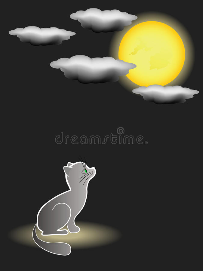 Download Kitten and full moon. stock vector. Image of loneliness - 13234924