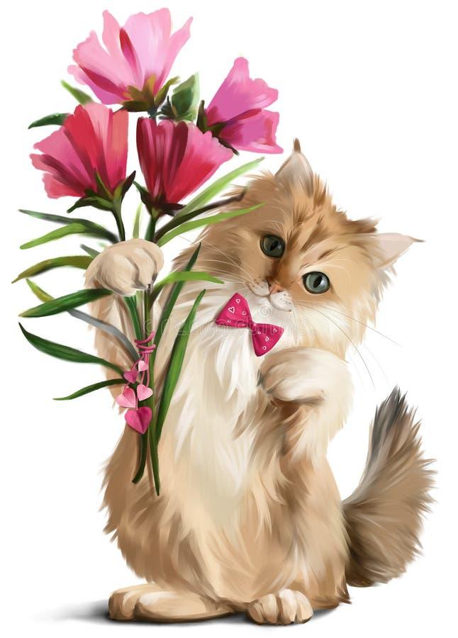 Kitten gave a bouquet of flowers vector illustration