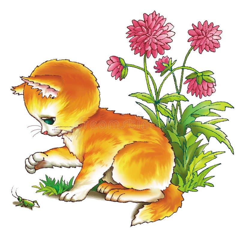 Download Kitten and grasshopper stock illustration. Illustration of chase - 5580838