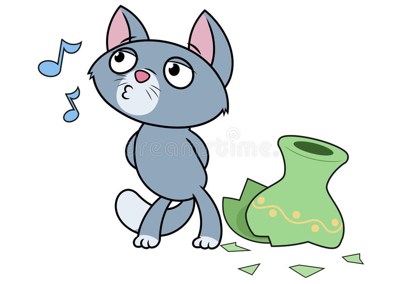 Kitten has broken a vase. Illustration of the little kitten has broken a vase stock illustration