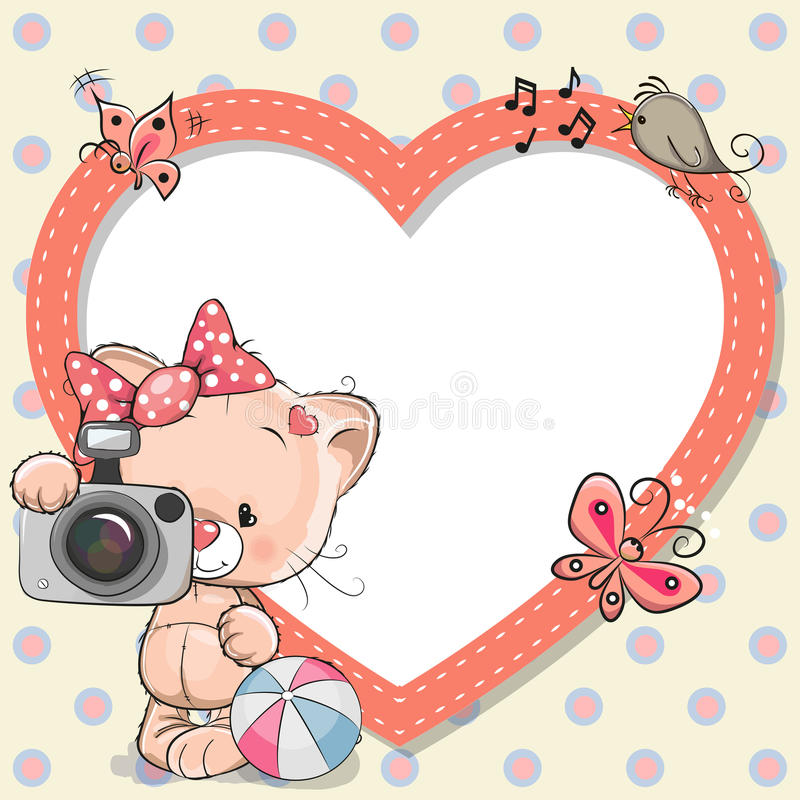 Kitten with heart frame stock illustration