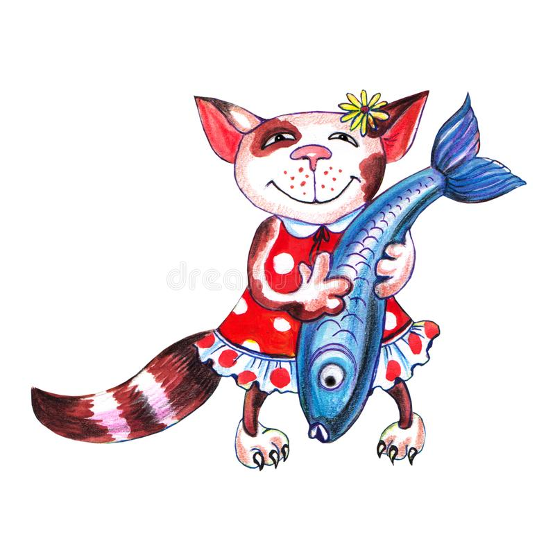 Kitten holds fish in hand vector illustration