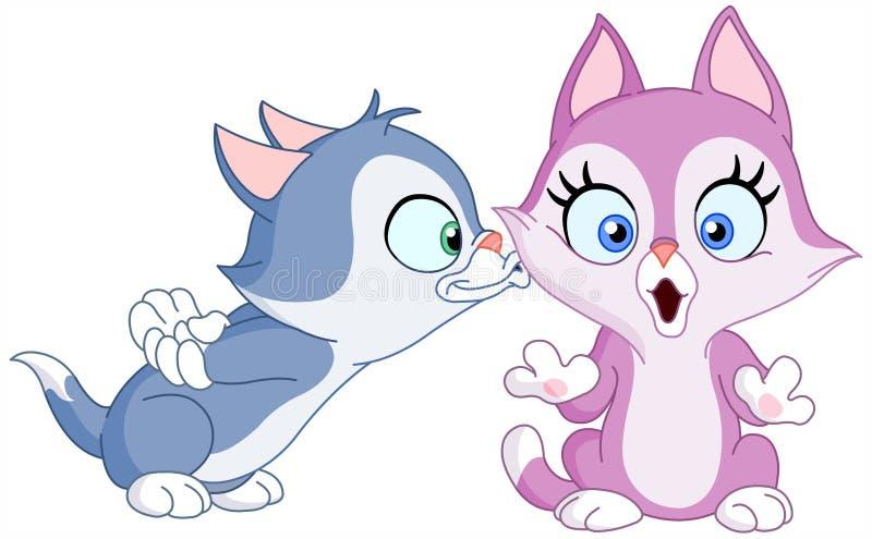 Kitten kiss royalty free illustration