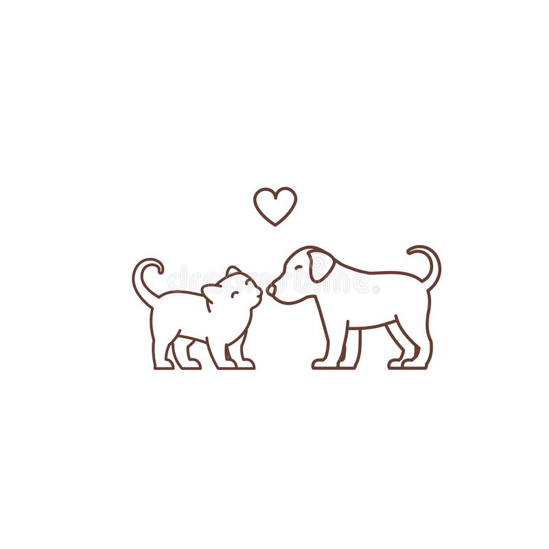 Kitten kisses puppy logo or icon. Friendship of the species. Love and heart. Cat and dog. Pet Shop. Outline contour line vector vector illustration