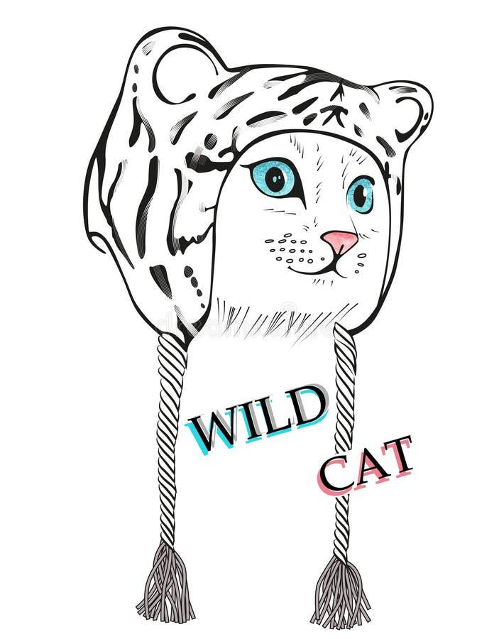 Kitten in leopard hat stock photos