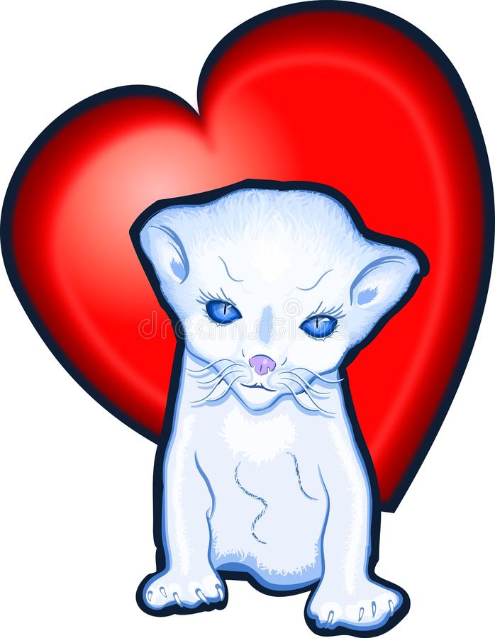 Download Kitten love heart stock illustration. Image of heart - 17814934