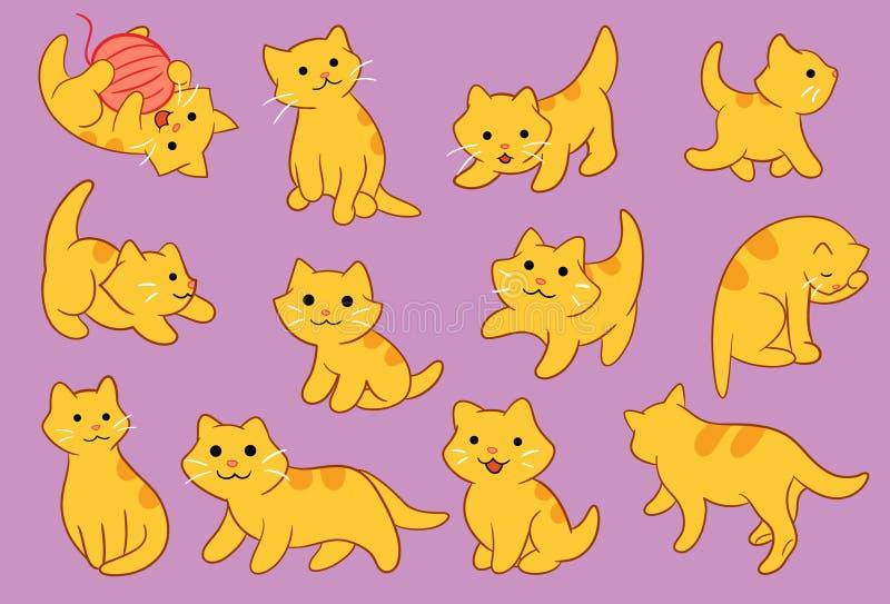 Kitten Pose Vector Icon Illustration sveglia illustrazione di stock