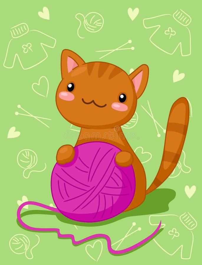 Download Kitten with purple clew stock vector. Image of mischievous - 23624452