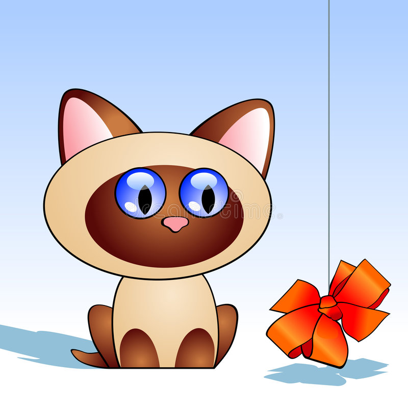 Kitten with red bowknot stock illustration