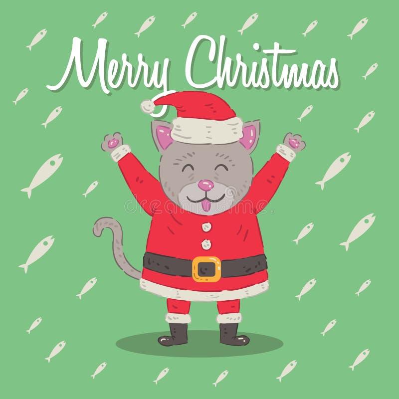 Kitten Santa Claus Christmas Cartoon Character Illustration sveglia illustrazione vettoriale