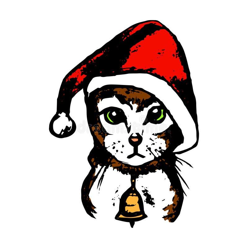 Kitten Santa Claus hatt (färg) stock illustrationer
