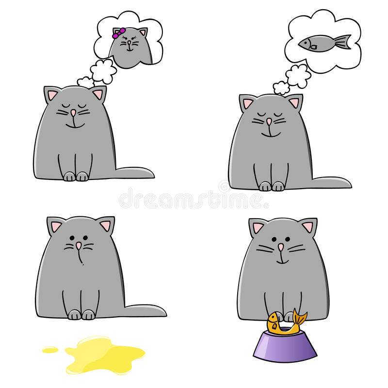 Download Kitten set stock vector. Image of loving, dinner, food - 18448853