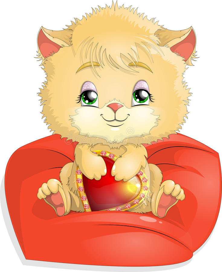 Kitten. Sitting on a soft pillow royalty free illustration