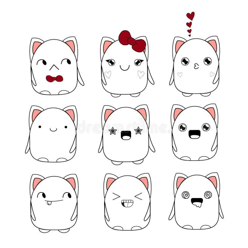 Kitten smiley doodle-monster vector illustration