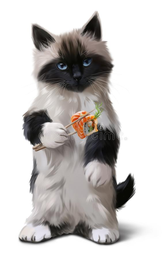 Kitten and sushi watercolor drawing royalty free illustration