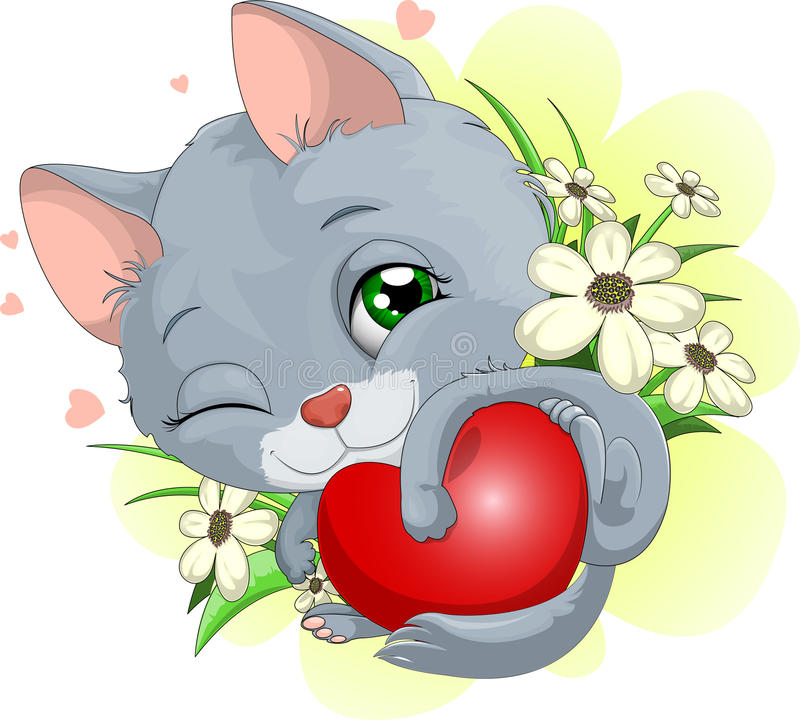 Kitten. Who gently embraces heart royalty free illustration