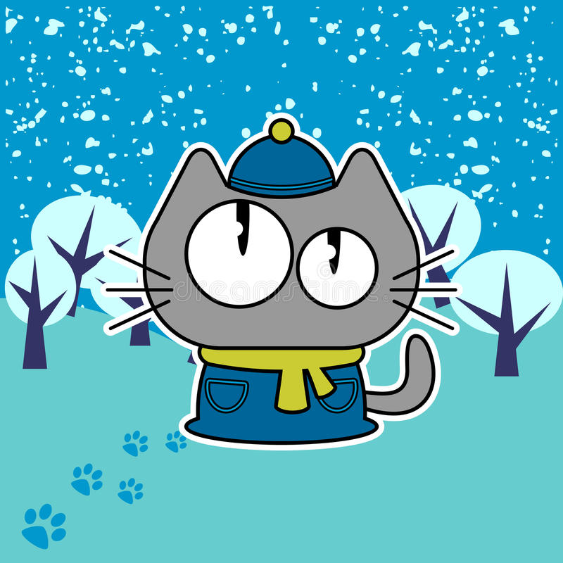 Kitten In Winter Royalty Free Stock Images
