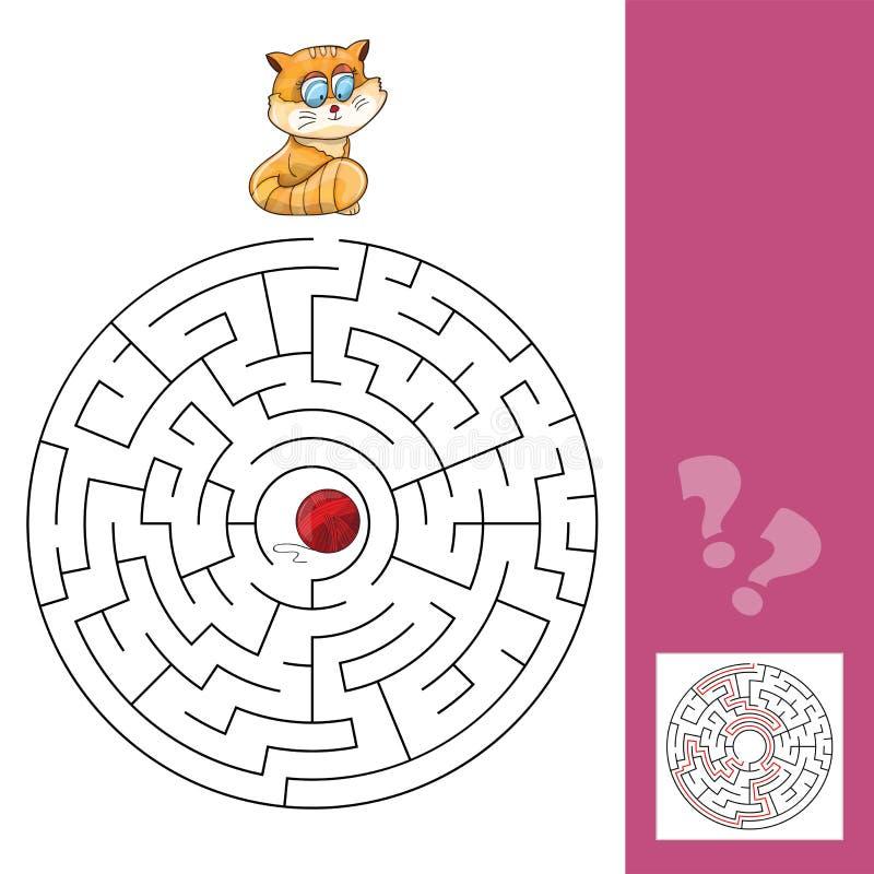 Kitten And Wool Ball - Maze Game con la soluzione royalty illustrazione gratis